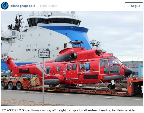 EC225 del operador de Babcock, Bond, recién llegado al puerto de Aberdeen, con las matrículas tapadas curiosamente...
