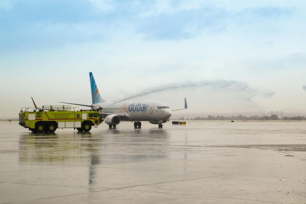 Aterrizaje de Flydubai en Tel Aviv